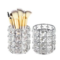 Feyarl 2pcs Crystal Beads Makeup Brush Holder Silver Bling Handcrafted Comb Brush Pen Pencil Hol ...