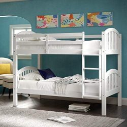 Harper&Bright Designs Bunk Bed Solid Wood Twin Over Twin Bunk Beds with Ladder (White)