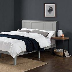 Zinus Andrew Wood Country Style Platform Bed with Headboard / No Box Spring Needed / Wood Slat S ...