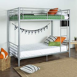 New Silver Twin Over Twin Metal Bunk Bed Frame