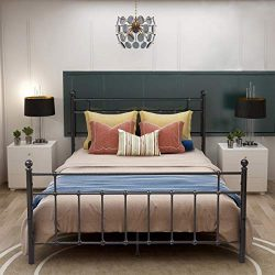 BOFENG Bed Frame Queen Metal with Headboard and Footboard Non-Slip Box Spring Support Heavy-Duty ...