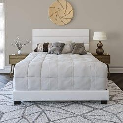 Boyd Sleep Montana Upholstered Platform Bed Frame with Tri-Panel Design Headboard : Faux Leather ...