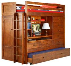 BUNK BED ALL IN 1 LOFT WITH TRUNDLE DESK CHEST CLOSET Paper Plans SO EASY BEGINNERS LOOK LIKE EX ...