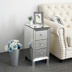 Bonnlo 3-Drawer Mirrored Nightstand End Tables Bedside Table for Bedroom, Living Room, Silver