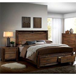 Pemberly Row Rustic 2 Piece Queen Bedroom Set in Oak
