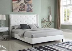Home Life Premiere Classics Leather White Tufted with Nails Leather 51″ Tall Headboard Pla ...