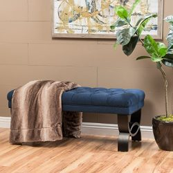 Christopher Knight Home 299600 Living Reddington Dark Blue Tufted Fabric Ottoman Bench, 17.25 ...