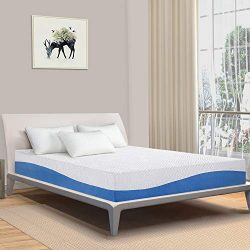 "PrimaSleep Wave Gel Infused Memory Foam Mattress, 10"" H, Full, Blue"