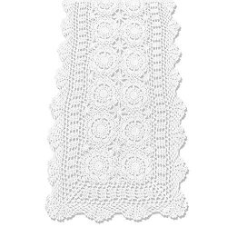 KEPSWET Cotton Handmade Crochet Lace Table Runner White Rectangle Coffee Table Dresser Decor (14 ...