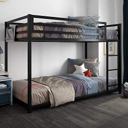 DHP 4303019 Miles Twin Metal Bunk Bed, Kid's Bedroom, Space-Saving Design, Black,
