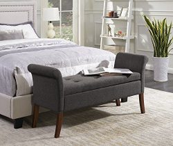 Convenience Concepts 143634FSGY Designs4Comfort Storage Bench, Soft Gray