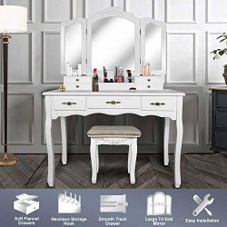 Vanity Beauty Station,Large Tri-Folding Necklace Hooked Mirrors,6 Organization 7 Drawers Makeup  ...