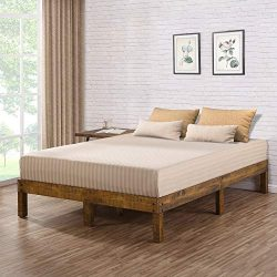 Ecos Living 14 Inch High Rustic Solid Wood Platform Bed with Natural Finish/No Box Spring/No Squ ...