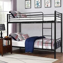 Costzon Twin Over Twin Loft Bed, Metal Frame with Ladder Guard Rail for Boys & Girls Teens K ...