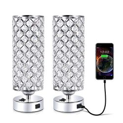 Crystal Table Desk Lamp with USB Port, Acaxin Elegant Bedside Light with Crystal Shade, Glam Lam ...
