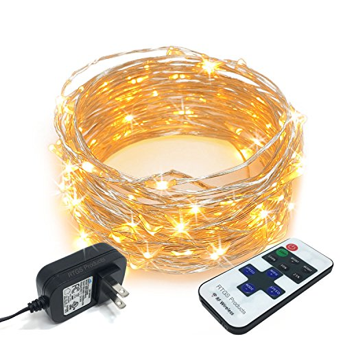RTGS 100 LEDs String Lights Plug-in on 32 Feet Long Silver Color Wire, Indoor Outdoor Use (Warm  ...