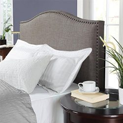 Dorel Living DL31205K Winsted Linen King Headboard with Nailheads, Gray