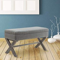 Fabric Storage Bedroom Bench Seat for End of Bed, Upholstered 36 inch Entryway Bench with X-Shap ...