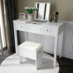 Amooly Vanity Set with Flip Top Mirror Makeup Dressing Table Writing Desk with 2 Drawers Cushion ...