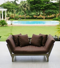 Cambridge-Casual 460109CAP West Lake Convertible Sofa Daybed, Weathered Grey with Cappuccino