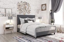DHP 4156439 Janford Upholstered Bed with with Chic Design, Queen, Grey Linen
