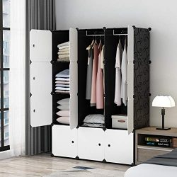 MAGINELS Portable Closet Clothes Wardrobe Bedroom Armoire Storage Organizer with White Doors, Ca ...