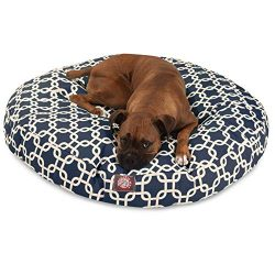 Navy Blue Links Large Round Indoor Outdoor Pet Dog Bed With Removable Washable Cover By Majestic ...