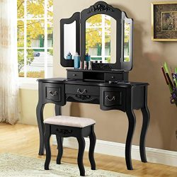 Giantex Vanity Dressing Table Set with Stool, Tri Folding Vintage Vanity Makeup Dressing Table S ...