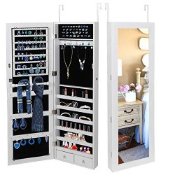 SUPER DEAL Jewelry Armoire Lockable Jewelry Cabinet Wall/Door Mounted Jewelry Organizer with Ful ...