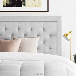 LUCID Bordered Upholstered Headboard with Diamond Tufting, King/California King, Stone