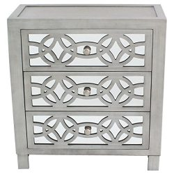 River of Goods  Drawer Chest: Glam Slam 3-Drawer Mirrored Wood Cabinet Furniture – Pewter