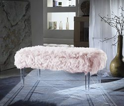 Iconic Home FBH2648-AN Trento Modern Contemporary Faux Fur Acrylic Leg Bench, Pink