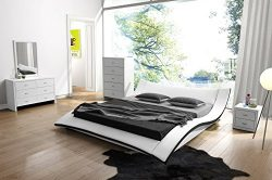 US Pride Furniture Riley Faux Leather Contemporary Bed, California King, White