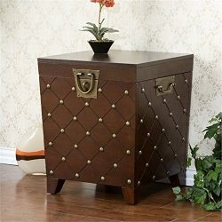 Nailhead End Table Storage Trunk – Expresso Finish w/ Decorative Handles – Transitio ...