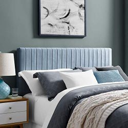 Modway Keira Channel Tufted Performance Velvet Upholstered Full / Queen Headboard in Light Blue