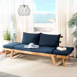 Safavieh PAT6745D Outdoor Collection Tandra Teak and Navy Modern Contemporary Daybed Day Bed, Na ...