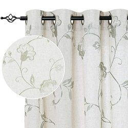 jinchan Linen Textured Curtains for Living Room Long Embroidered Design Window Curtains Privacy  ...