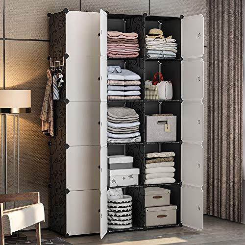 YOZO Modular Wardrobe Portable Clothes Closet Garment Rack Polyresin Storage Organizer Bedroom A ...