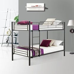 Mecor Metal Bunk Bed Twin Over Twin – with Removable Ladder and Guard Rail – Space S ...