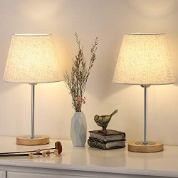 Nightstand Table Lamp for Bedroom, Small Wood Desk Lamps Set of 2, Modern Bedside Lamp with Line ...