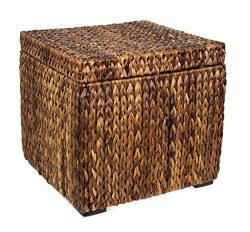 BIRDROCK HOME Woven Storage Cube | Abaca Seagrass Decorative Ottoman | Living Room Side Table |  ...
