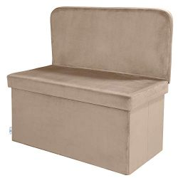 B FSOBEIIALEO Velvet Storage Ottoman with Seat Back, Folding Chair Footstool Ottoman Bench, Stur ...