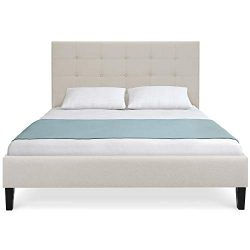 Best Choice Products Upholstered Twin Platform Bed with Tufted Button Headboard, Steel Frame, Wo ...