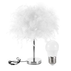 White Feather Decorative Table Lamp, Modern Study Simple Bedroom Bedside Button Switch LED Night ...