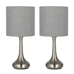 HAITRAL Modern Table Lamps Set of 2 – Simple Bedside Desk Lamps with Fabric Shade, Elegant ...