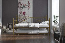DHP Lina Metal Daybed with Trundle, Twin Size Sofa Bed Frame, Gold