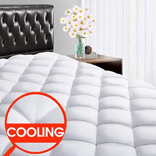 SOPAT Queen Mattress Pad Cover – CoolingPillow Top Plush Mattress Topper Reversible Quilt ...