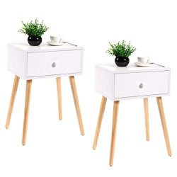 JAXPETY Set of 2 Bedside Table Solid Wood Legs Nightstand w/White Storage Drawer