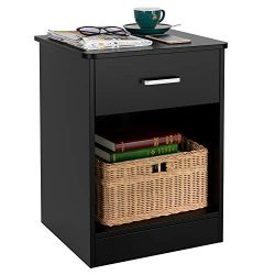HOMFA Nightstand 2-Tier, Tall 1-Drawer End Table Side Table File Cabinet Storage Table for Home  ...
