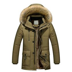 Teresamoon Men Winter Warm Hooded Zipped Thick Solid Fleece Coat Cotton-Padded Jacket (Most Wish ...